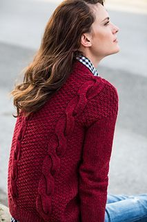 Oversized sweater with simple cables and moss-stitch texture. Hawser by Jared Flood