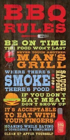 Earth de Fleur Homewares - Word Print Inspirational Sign BBQ Rules