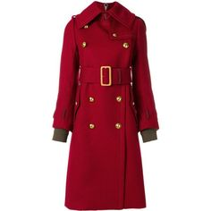 Sacai military belted coat (133.545 RUB) ❤ liked on Polyvore featuring outerwear, coats, coats & jackets, jackets, red, military coats, military style coat, belted coats, belt coat and red coat
