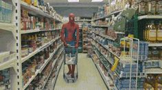 Why Spider Man can't go shopping (gif)
