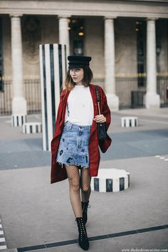 PFW Day 1: Red Kimono With Denim Mini Skirt