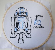 """""""you R2 cute"""" needlepoint"""