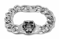 """8.5'' BIKER SKULLS MEXICAN DEATH HEAD SKULLS Bracelet (8.5 Inches) THE ICE EMPIRE. $25.95. LENGTH:8.5, 9, 10"""". METAL: STAINLESS STEEL. SKULL HEADS. CLASP: MANUAL TOGGLE"""