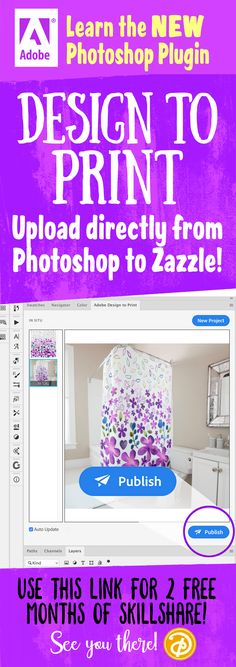 Learn this new and amazing Photoshop plug-in which allows you to upload directly from your dartboard to thousands of products. So convenient and easy to use. I teach this one-hour class which will show you all the ins and outs. Use this link for 2 MONTHS FREE! Can you imagine how many classes you can watch in two months? This is one of many instructional classes for you if you are trying to make a living with your art! See you there!