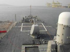 USS Mahan DDG 72 - bow view from the bridge - NATO standing naval force mediterranean - STANAVFOMED - Trieste, Italy - November 2004
