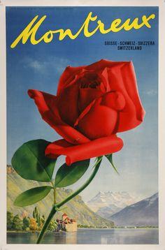 Vintage travel poster for Montreux, Switzerland