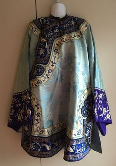 Antique Chinese silk light turquise Embroidered Robe gold metallic thread embroidery