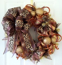 FALL SALE: Whimsical, Brown, Copper & Gold Metallic Striped, Chocolate Brown and Leopard Animal Print Wreath Bow, Deco Mesh Christmas Wreath on Etsy, $50.00