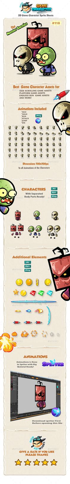 Monster Enemies 2D Game Character Sprites 118 — Vector EPS #iphone #rpg • Available here → https://graphicriver.net/item/monster-enemies-2d-game-character-sprites-118/13242439?ref=pxcr