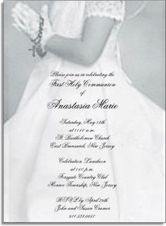 This Communion Card is sure to make your childs first holy communion memorable.  The card is made of a gray and white design with a child standing in prayer for her special first communion.  Wearing delicate gloves on her hand and holding a rosary against a beautiful white communion dress that flows off the page.  Your personalization is printed on a delicate vellum overlay that is carefully assembled and printed in a black print that is the perfect accent for this one of a kind  first holy…