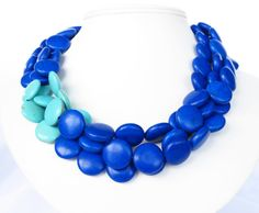 Cobalt and Turquoise Necklace  by WildflowersAndGrace on Etsy, $49.00