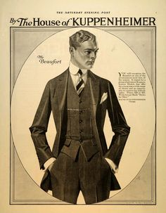 thehauntedballroom: The Beaufort suit by Kuppenheimer. Illustration by Leyendecker. Fashion Illustration Vintage, Illustration Mode, Fashion Illustrations, Moda Vintage, Vintage Men, Vintage Hats, Jc Leyendecker, Vintage Outfits, Vintage Fashion