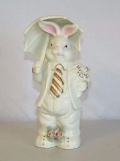Ks-Collection-White-Bunny-with-Umbrella-Pink-Flower-Golden-Accents