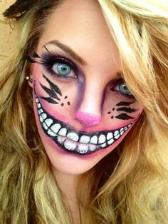 Cheshire Cat make-up. I LOVE the whiskers. Halloween Kiss, Diy Halloween Costumes, Halloween Crafts, Halloween Face Makeup, Cheshire Cat Makeup, Cheshire Cat Costume, Best Zombie, Zombie Walk, Costume Tutorial