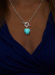 Aqua Necklace  Bridesmaid Gift  Little Heart  Glow in por EpicGlows