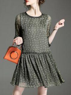 4c2e70267e3 Shop Midi Dresses - Blue H-line Casual Work Dress online. Discover unique  designers fashion at StyleWe.com.