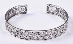 925 Solid Sterling Silver Bangle Stylish Jali Work Easy to Sizable JSBG-29 #Handmade #Bangle