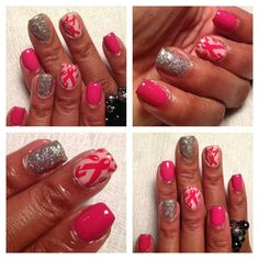 Gel polish manicure with breast cancer ribbon design.