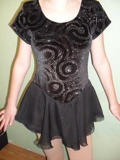 Figure skating or dance dress - Black velvet glitter dress with georgette skirt