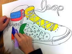 AMAZING 5th grade shoe with action word in the laces! from Art Project Girl