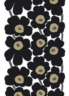 classic marimekko unikko fabric in black and kahki - I have it in yellow and red! LOVE Finnish Design!