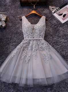 Beautiful Sleeveless lace-up Short homecoming Dress 2017 Lace Appliques Tulle BA3782_High Quality Wedding Dresses, Prom Dresses, Evening Dresses, Bridesmaid Dresses, Homecoming Dress - 27DRESS.COM