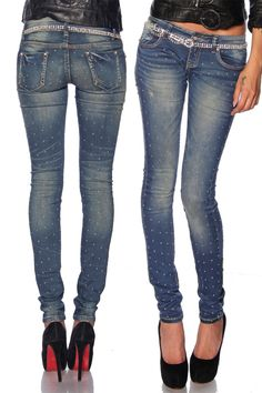 Mit dieser super elastischen & bequemen Röhrenjeans zeigt Frau gerne Bein! Die coolen Nieten an Vorder-und Rückteil...