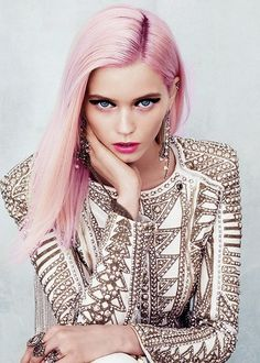 Abbey Lee working pink hair