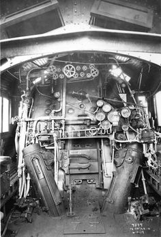 View from 1919 shows what the engineer and fireman on Santa Fe 4-8-2 No. 3710 saw when they climbed into the cab of their engine
