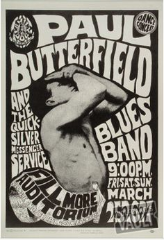 LINK. to Wolfgang's Vault for an awesome collection of vintage Rock n' Roll ephemera.  Seen here - a Wes Wilson Butterfield Blues Band poster from 1966.