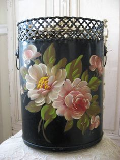 Gorgeous Vintage Waste Basket Hand Painted Tole Roses Flowers Nice French Look  c. Post 1940