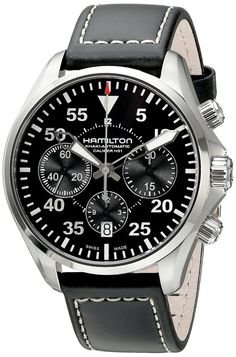 men watches: Men top watches Hamilton Men's H64666735 Khaki Aviation Stainless Steel Automatic Watch with Black Leather Band