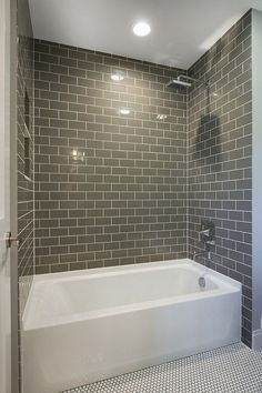 Bathroom tile ideas with white tub grey subway bathtub tile ideas bathroom tub small shower tub . bathroom tile ideas with white tub Hall Bathroom, Upstairs Bathrooms, Bathroom Renos, Grey Bathrooms, Cozy Bathroom, Bathroom Remodeling, Remodeling Ideas, Modern Bathroom, Bathroom Cabinets
