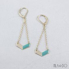 Boucles d'oreilles Oko bleu canard || Dorées à l'or fin 24 carats : Boucles d'oreille par milado