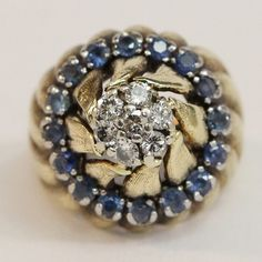 September Birthstone  14k Gold Diamond and by LadyLibertyGold #September #Sapphire #VintageJewely