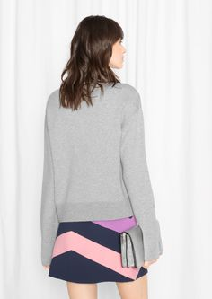 & Other Stories image 3 of Wide Collar Sweater  in Grey
