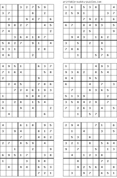 There are 4 sudoku puzzles per page. The printable sudoku puzzles pages below are listed in order of difficulty. If you are new to sudoku, start with an easy puzzle. Mazes For Kids, Printable Puzzles For Kids, Free Printables, Free Printable Crossword Puzzles, Sudoku Puzzles, Logic Puzzles, English Worksheets For Kids, Fun Math Games, Puzzle Books