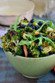 Broccoli Arugula Salad with Blueberries | Detox Recipe | The Healthy Apple | Amie Valpone
