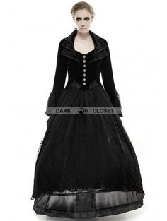 Punk Rave Vintage Black Velvet Gothic Long Coat for Women