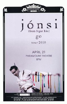 Concert poster for Jonsi from Sigur Ros at The Paramount in Denver, CO. 11 x 17 inches on card stock.