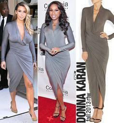 Kim Kardashian and Jennifer Hudson both rock a fab Donna Karan wrap dress.