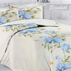 Sateen Duvet Cover Set Elizabeth – Silky smooth natural cotton Turkish sateen fabric is decorated with simple yet charming cornflower blue blooming design. Duvet Sets, Duvet Cover Sets, Home Textile, Bed Sheets, Comforters, Pillow Cases, Modern Design, Smooth, Blanket