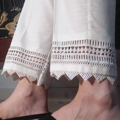 Off White / Cream Pure Cotton Trouser For Women With Laces. Comfortable to wear. Salwar Designs, Kurti Neck Designs, Dress Neck Designs, Stylish Dress Designs, Kurta Designs Women, Kurti Designs Party Wear, Blouse Designs, Trousers For Girls, Pants For Women