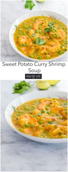Sweet Potato Curry Shrimp Soup is super simple to make! A healthy, thick soup that's loaded with a sweet, creamy flavor. Paleo friendly, Gluten Free and Dairy Free. | A Healthy Life For Me