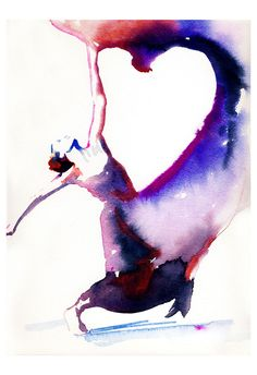 Art Print of Dancer 13 x 19 Watercolor painting.  Titled - Dancer with heart. $150.00, via Etsy.