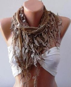 Oh I love this Scraf ......Light Brown Lace and Elegance Shawl / Scarf  with by SwedishShop, $17.90