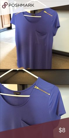 Blue Express shirt with gold zippers A great shirt sleeves dress shirt. Amazing material that does not cling with a front pocket and shoulder gold zippers Express Tops Blouses