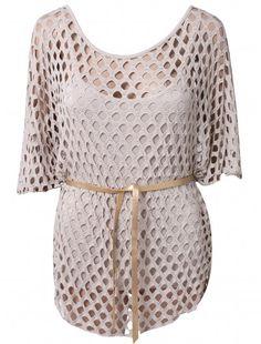 Womens Fashion All Over Holes Black Top     #fashionwholesaler  #enjoythesale #beige