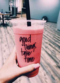 Good things take time, that's why we are going to take a little while. Good Food, Yummy Food, Tasty, Yummy Drinks, Think Food, Fitness Workouts, Smoothies, Smoothie Drinks, Food Porn