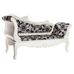 Diván chaiselongue estilo vintage clásico blanco y negro